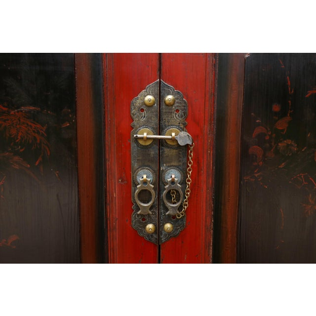 Carved Asian Sideboard in Red For Sale In New York - Image 6 of 7