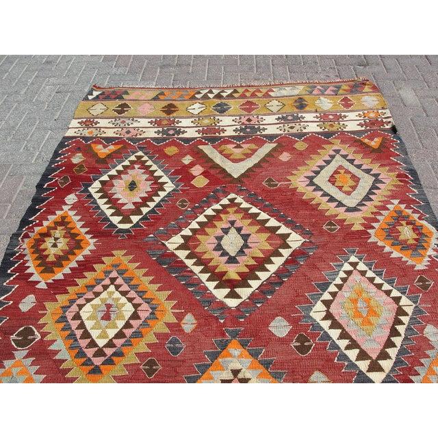 Red Vintage Turkish Kilim Rug - 5′9″ × 8′2″ For Sale - Image 8 of 11