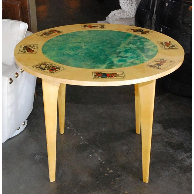 Smaller Aldo Tura lacquered parchment game table with transfer printed Neapolitan card game design. Can use as a center...