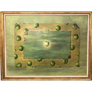 Trompe l'Oeil Surrealist Green Apple Oil Painting