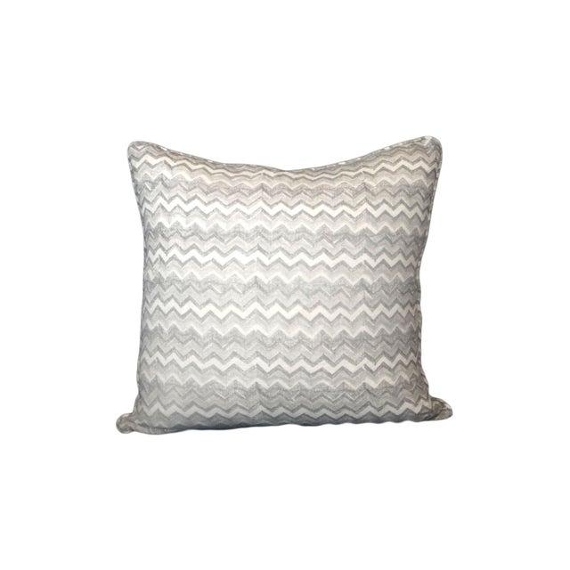 Block Printed Chevron Linen Pillow - Image 1 of 2