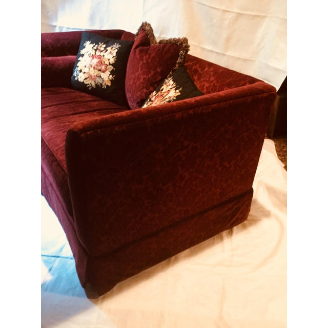 Traditional 1990s Vintage Bordeaux Velvet Loveseat & Chair- A Pair For Sale - Image 3 of 10