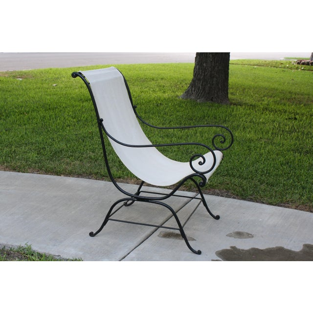 Vintage French Wrought Iron Sling Chair For Sale - Image 13 of 13