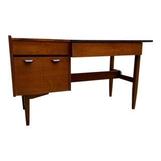 1960s Mainline by Hooker Walnut and Black Laminate Writing Desk For Sale