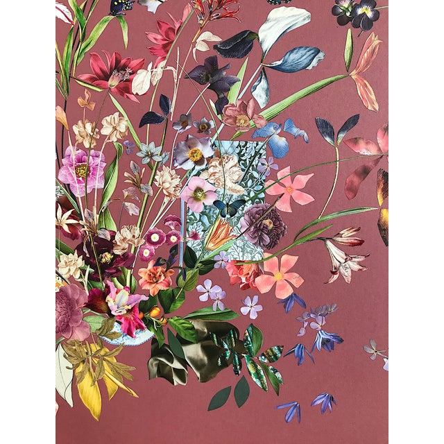 Contemporary Wild Roses, Floral Mixed Media Collage by Marcy Cook For Sale - Image 3 of 8
