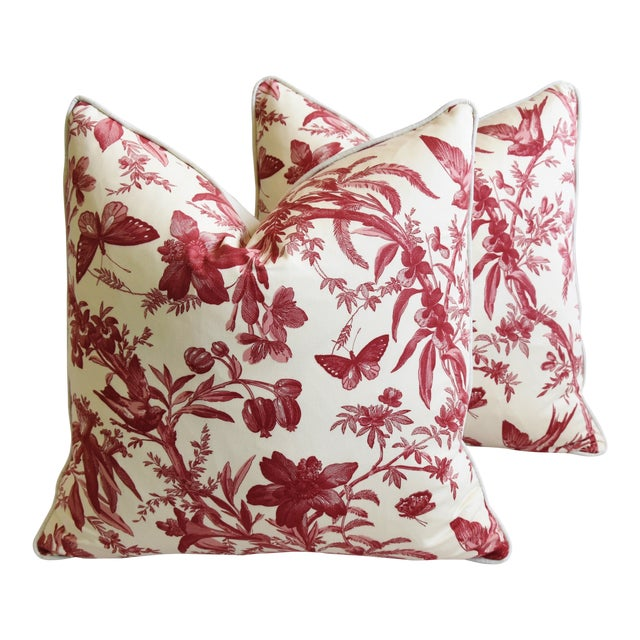 "P. Kaufmann Aviary & Floral Toile Feather/Down Pillows 23"" Square - Pair For Sale"
