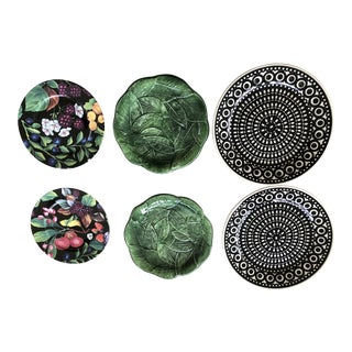 Black and White and Majolica Leaf and Flora Plates - Set of 6 For Sale