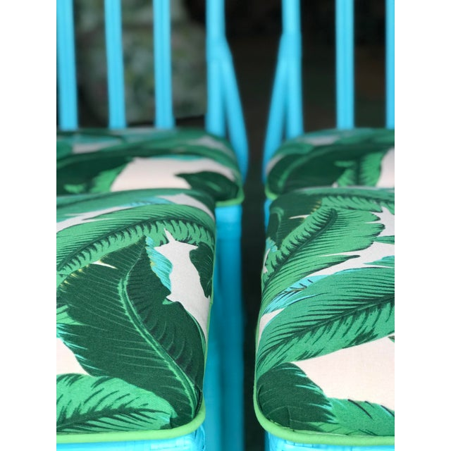Wood Coastal Regency Lexington Cathedral Turquoise Palm Leaf Upholstered Chairs-Four For Sale - Image 7 of 12