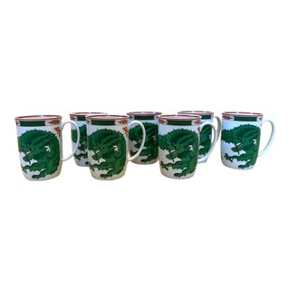 Set/7 Fitz and Floyd Dragon Crest Green Porcelain Mugs For Sale