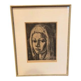 Vintage Framed Portrait of Woman For Sale