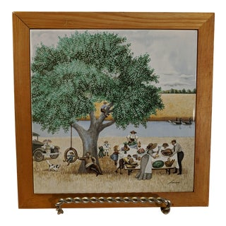 1982 Vintage Lowell Herrero Signed Decorative Framed Tile For Sale