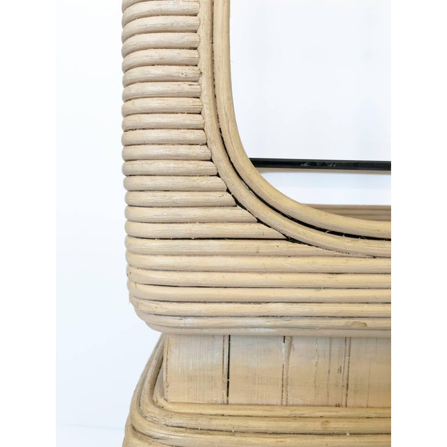 Pair of Vintage Mid-Century Modern Pencil Reed Bamboo Rattan Etageres For Sale - Image 9 of 12