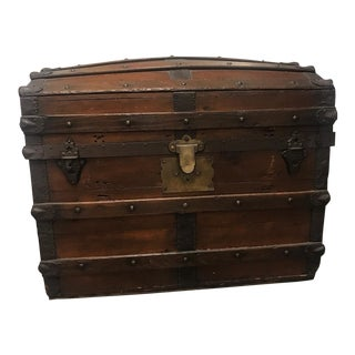 Mid 19th Century Vintage Wood Trunk For Sale