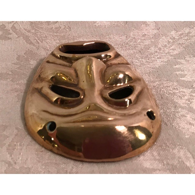 Mid-Century Modern Brass Tragedy Mask - Image 7 of 9