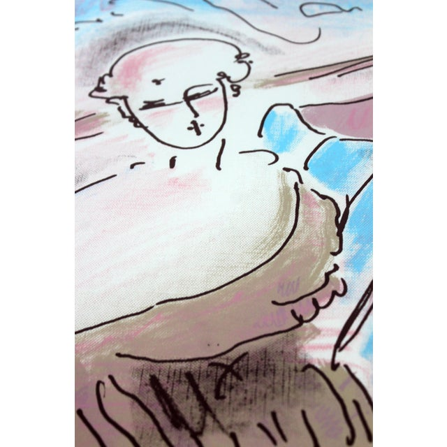 1970s Mid-Century Modern Framed Print by Peter Max Seated Lady Signed Numbered For Sale - Image 5 of 7
