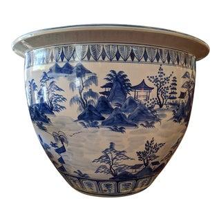 Antique Chinese Blue & White Porcelain Jardinière For Sale