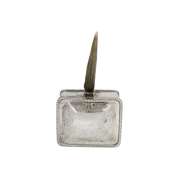 English Horn Handled Silver-Plate Silent Butler. Used For Collecting Table Crumbs And The Contents Of An Ashtray. Maker'S...