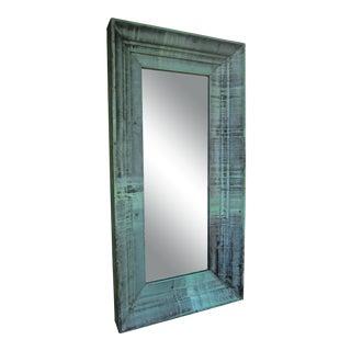 Architectural Verdigris Patinated Copper Floor Mirror For Sale