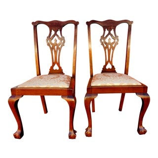 Antique Hand-Carved Ball & Claw Chairs - A Pair For Sale