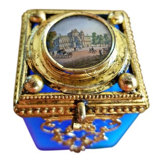 19c Continental Turquoise Glass Box With Miniature of Palace Scene For Sale