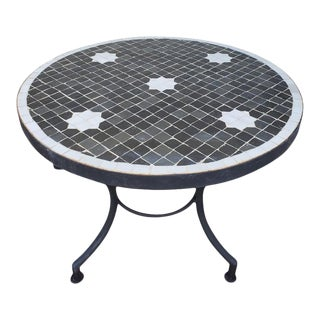 Black / White Moroccan Mosaic Table For Sale