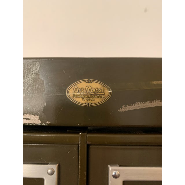 Forest Green Mid 20th Century Vintage Industrial Filing Cabinet 24 Drawer For Sale - Image 8 of 12