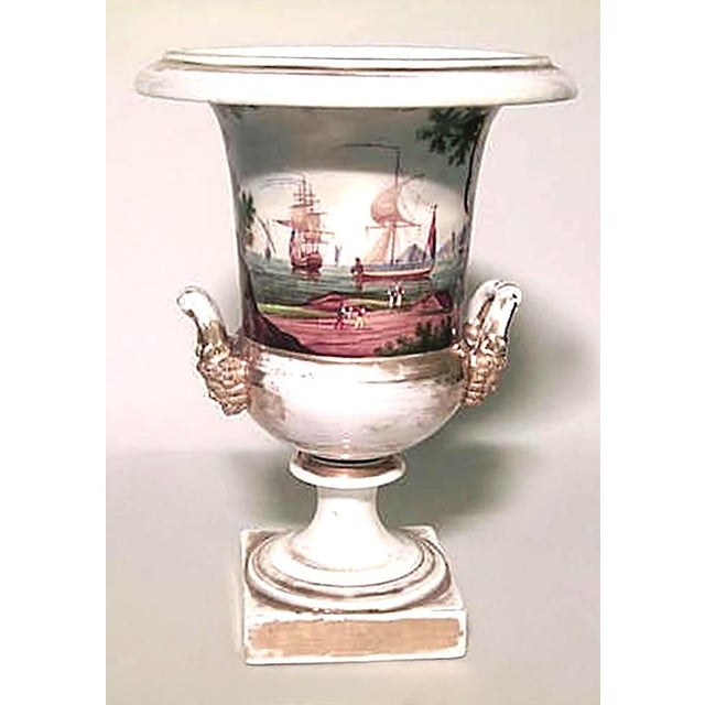 French French Empire Style Porcelain Urn with Nautical Scene For Sale - Image 3 of 7