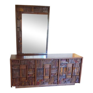 1970's Mid Century Lane Brutalist Pueblo 9 Drawer Dresser & Mirror For Sale