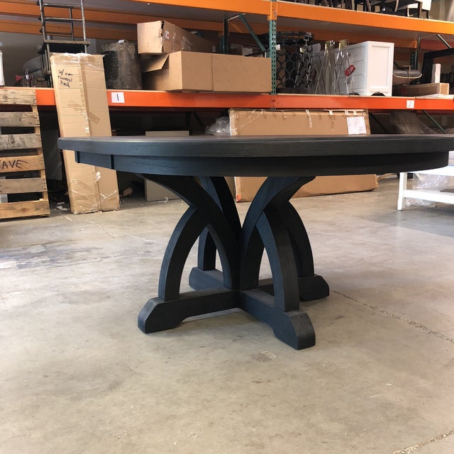 Rustic Hooker Corsica Dining Black Wooden Dining Table For Sale - Image 3 of 10