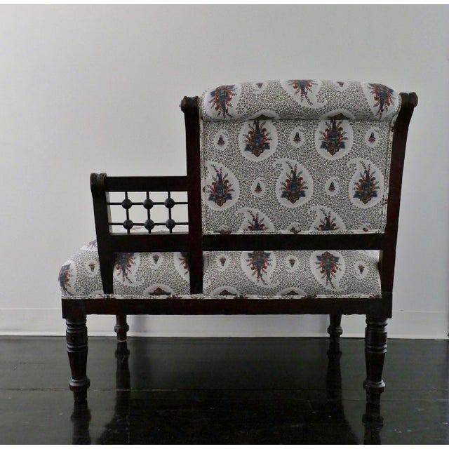 Vintage Eastlake Style Settee Upholstered in Tilton Fenwick Fabric - Image 4 of 8