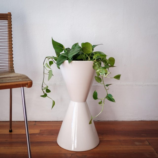 Architectural Pottery Double Cone planter by La Gardo Tackett. White glaze. Not drilled so it would work great indoors or...