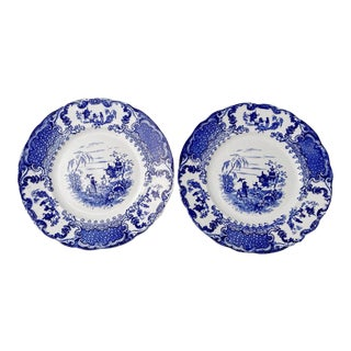 Antique C1890s Flow Blue Plates Geisha Pattern Upper Hanley Pottery Co - Set of 2 For Sale