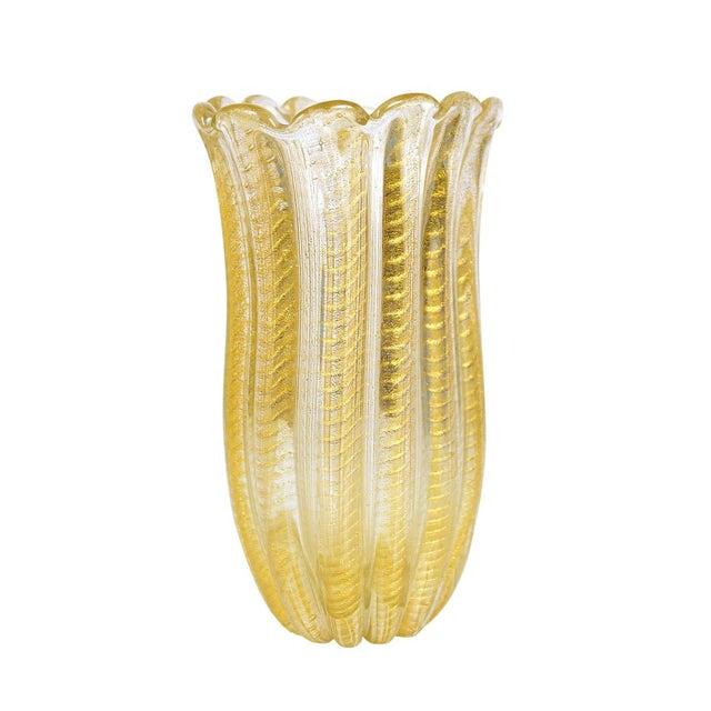 Barovier Toso -Beautiful Murano Glass Vase -Cordonato Gold Flecks For Sale In Los Angeles - Image 6 of 8