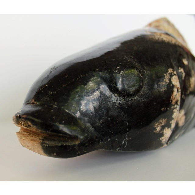 Hand Carved Petrified Wood Koi Fish Sculpture For Sale - Image 5 of 8