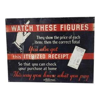 1930's Advertising Sign for National Cash Register Co For Sale