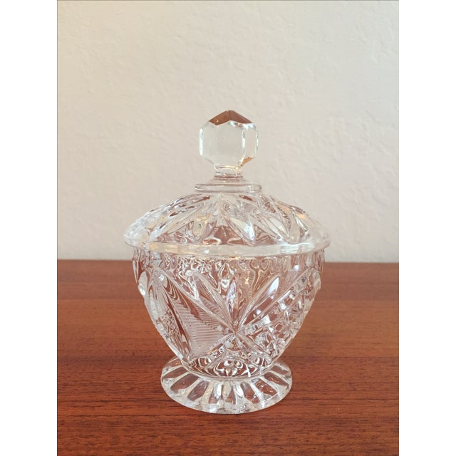Vintage Cut Glass Cream & Sugar Set with Lid For Sale - Image 5 of 10