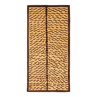 Brown and Tan Wool Tiger Area Rug-3′ × 6′ For Sale