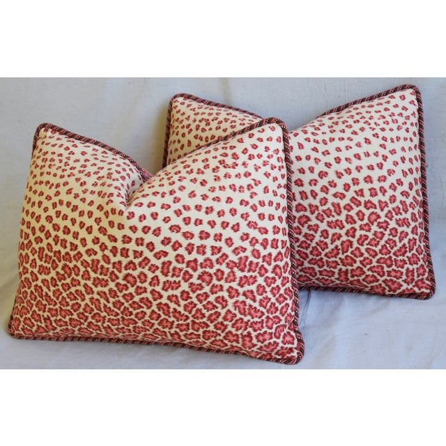 """Colefax & Fowler Leopard Print & Chenille Feather/Down Pillows 22"""" X 16"""" - Pair - Image 8 of 13"""