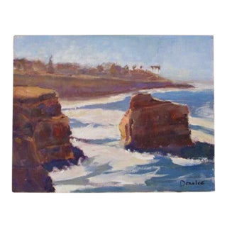 Original Oil Painting Fine Art Ocean Scene of the Cliffs Over Looking the Sea Signed 11 X 14