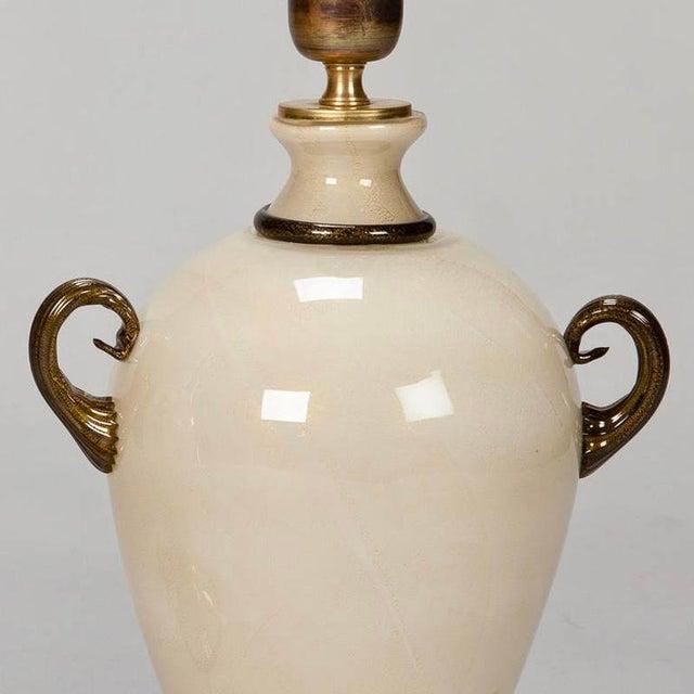 Pair of Mid Century Murano Amphora Art Glass Aventurine Table Lamps - Image 4 of 8