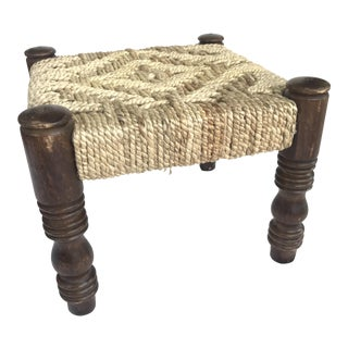 Vintage Handwoven Rope Stool For Sale