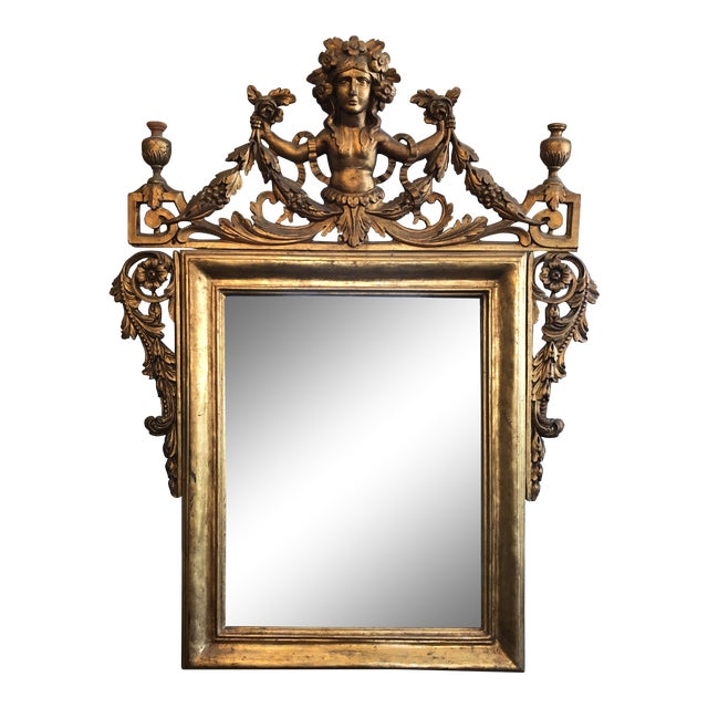 Early 19th Century Antique Neo Classical Carved Wood Italian Gilt Mirror For Sale