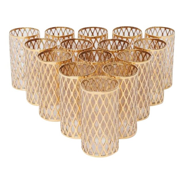 Highball Glasses with Gold Detail - Set of 15 For Sale
