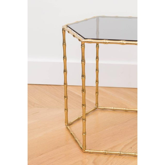 Hollywood Regency Maison Baguès Style Brass Tables - A Pair For Sale - Image 3 of 5