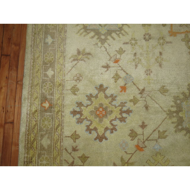 Textile Square Antique Ivory Field Oushak Rug, 7'5'' X 9' For Sale - Image 7 of 9