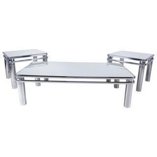 Set of Vintage Modern Tubular Chrome Tables For Sale
