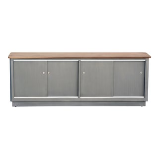 Custom Tanker Style Steel Credenza With Walnut Top For Sale