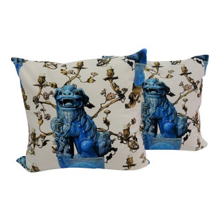 Blue & White Foo Dog Print Pillows - A Pair For Sale