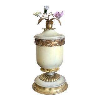 Mid 20th Century French Style Porcelain Flowers Tole Painted Urn For Sale