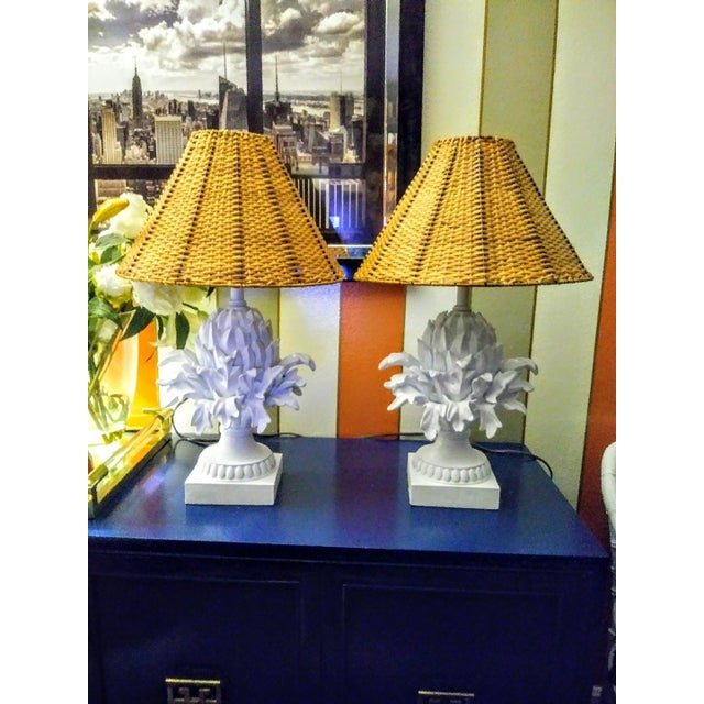 Plaster A Pair Palm Beach Regency White Peeled Pineapple Table Lamps W/ Wicker Shades For Sale - Image 7 of 7